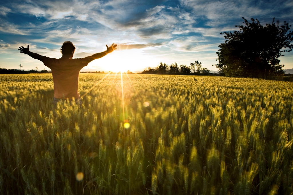 Man in sunshine, feeling happy and free with arms up in sky